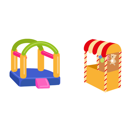 vector flat amusement park objects icon set. Shooting gallery with bear, rabbit toys - awards, inflatable bouncy playground castle. Isolated illustration on a white background. Ilustracja