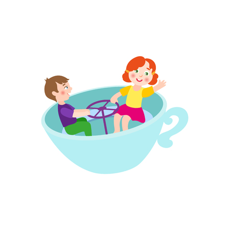 Vector plano niños en el concepto de parque de atracciones. Niños del niño y de la muchacha que se divierten que se sienta en la taza giratoria de la silla o que juega las tazas oscilantes. Ilustración aislada en un fondo blanco. Foto de archivo - 87535334