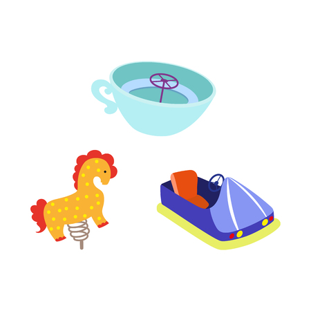 vector flat amusement park objects icon set. Spring horse seesaw, tea cup carousel and bumper car. Isolated illustration on a white background.