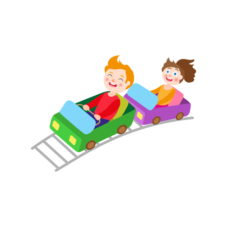 vector flat children in amusement park concept. Boy and girl on a thrilling roller coaster ride image. Isolated illustration on a white background.