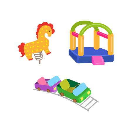 Vektor flache Vergnügungspark Objekte Icon-Set. Spring Wippe Pferd, Achterbahn und aufblasbare federnd Spielplatz Schloss. Lokalisierte Illustration auf einem weißen Hintergrund. Standard-Bild - 87535338
