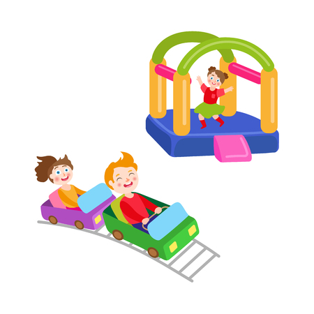 Vektorflachkinder im Vergnügungsparksatz. Jungen- und Mädchenreiten an der Achterbahn, Mädchen im aufblasbaren federnd Spielplatzschloss. Lokalisierte Illustration auf einem weißen Hintergrund. Standard-Bild - 87535346