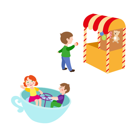 vector flat children in amusement park set. Boy in Shooting gallery with bear, rabbit toys - awards, kid spinning at tea cup carousel. Isolated illustration on a white background. Illustration