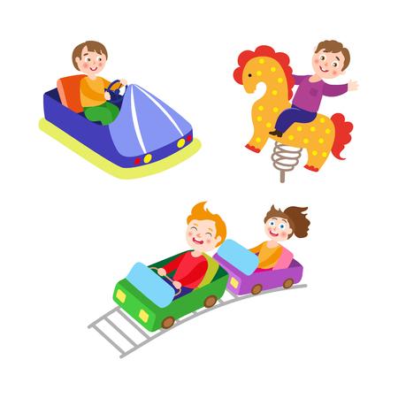 벡터 놀이 공원에서 플랫 아이들을 설정합니다. 소년들은 봄의 말 시소와 범퍼카를 타며 아이들은 롤러 코스터에 타고 있습니다. 흰 배경에 고립 된 그