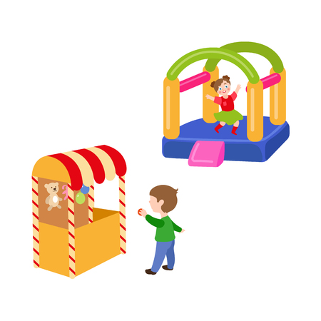 vector flat children in amusement park set. Boy in Shooting gallery with bear, rabbit toys - awards, girl in inflatable bouncy playground castle. Isolated illustration on a white background.