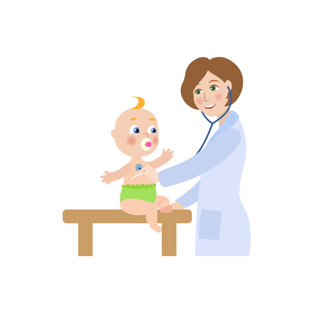 vector flat cartoon female doctor with stethoscope examining newborn infant kid lungs. Woman pediatrician in medical clothing and baby. Isolated illustration on a white background. Ilustracja