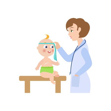 Femme médecin Vector plate bande dessinée avec stéthoscope mesurant la taille de la tête de l'enfant nouveau-né. Pédiatre femme en vêtements médicaux et bébé. Illustration isolée sur fond blanc Banque d'images - 87535351