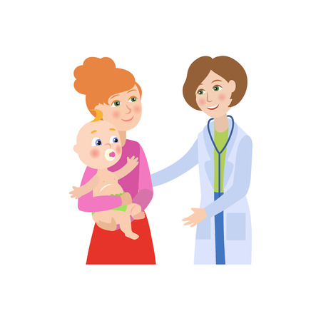 vector flat cartoon female doctor with stethoscope giving newborn infant kid to his mother. Woman pediatrician in medical clothing and baby. Isolated illustration on a white background.