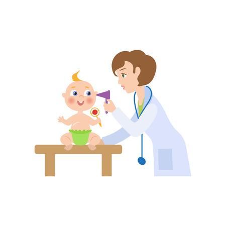 벡터 청진 기 신생아 유아 꼬마 귀를 검사와 평면 만화 여성 의사. 여자 의료 의류 및 아기 소아과입니다. 흰색 배경에 고립 된 그림입니다.