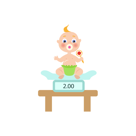 vector flat cartoon new born infant baby sitting at weighter with nipple in diaper holding rattle. Isolated illustration on a white background Ilustracja