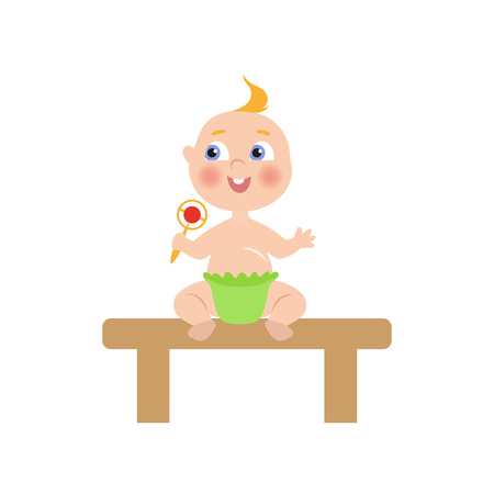 baby toy: vector flat cartoon new born infant baby sitting at wooden table in green diaper holding rattle smiling. Isolated illustration on a white background