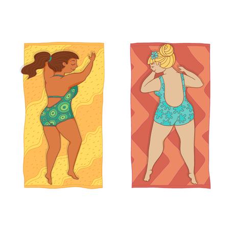 Vector mujeres de regordeta de estilo plano de dibujos animados caucásicos en traje de baño color acostado en la estera de la playa. Carácter femenino lindo que toma el sol en el verano. Ilustración aislada en un fondo blanco. Foto de archivo - 87535364