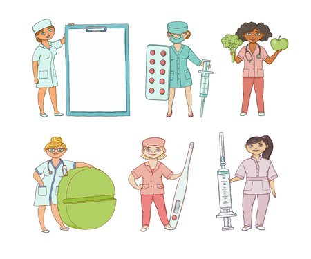 vector flat cartoon adult male, female doctors, nurses in medical clothing holding big pills, syringe thermometer, clipboard fruit vegetables smiling set. Isolated illustration on a white background. Illustration