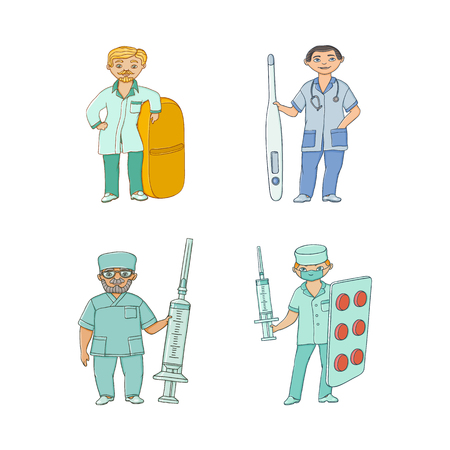 vector flat cartoon adult male doctors, nurses in medical clothing holding big pills, syringe thermometer smiling set. Isolated illustration on a white background.