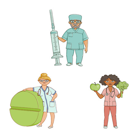 vector flat cartoon adult male, female doctors, nurses in medical clothing holding big pills, syringe fruit vegetables smiling set. Isolated illustration on a white background.