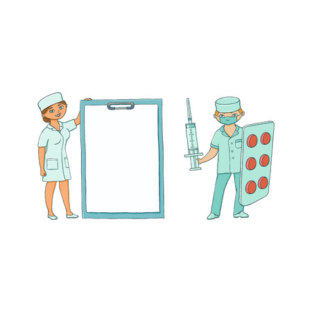 vector flat cartoon woman doctor in medical gown clothing holding huge clipboard with blank paper for text, male nurse with big pills blister and syringe. Isolated illustration on a white background. Ilustração
