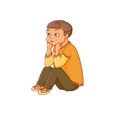 vector flat child - boy sitting at preschool class listening attentively, with interest to a teacher. Isolated illustration on a white background. Kindergarten concept