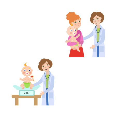 vector flat Woman pediatrician and baby scenes set. Female doctor with stethoscope measuring weight of newborn infant kid, giving baby to his or her mother. Isolated illustration on a white background Illusztráció