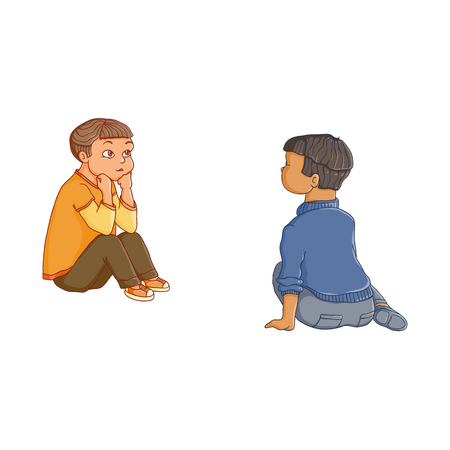 vector flat children - boys sitting at preschool class listening attentively, with interest to a teacher, back and front side view. Isolated illustration on a white background. Kindergarten concept Illustration