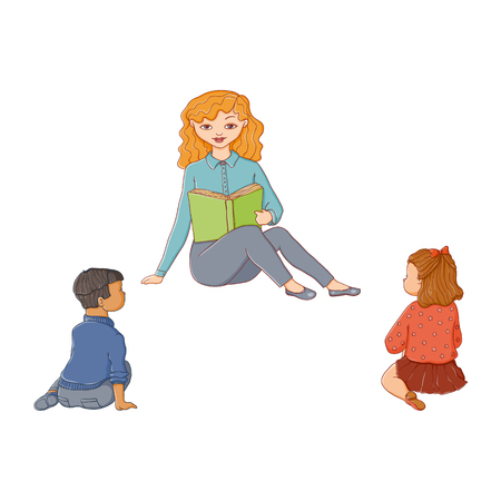 vector flat children - boy and girl sitting around young woman with book - teacher and listening to her attentively with interest. Isolated illustration on a white background. Kindergarten concept Illustration