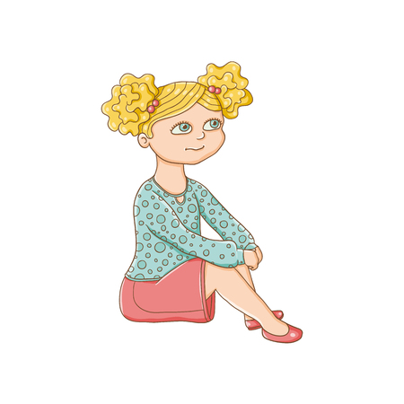 little one: Pretty little girl sitting on the floor, flat cartoon vector illustration isolated on white background. Little preschool blond girl with two ponytails sitting on the floor, listening
