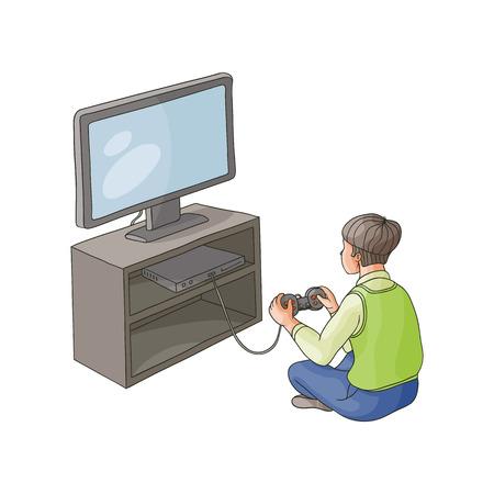 ベクトルフラット漫画のテレビパネル、プラズマモニターを持つフロアスタンドジョイスティックでゲームコンソール上で遊ぶ十代の男の子。白の  イラスト・ベクター素材