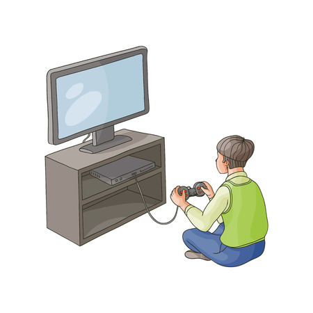 vector flat cartoon TV panel, floor stand with plasma monitor teen boy playing on game console by joystick. Isolated illustration on a white background. modern digital visual technology concept
