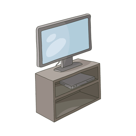 vector flat cartoon TV panel, floor stand with plasma monitor and play station console on the shelf. Isolated illustration on a white background. Teenagers and modern digital visual technology concept