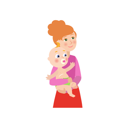 vector flat cartoon cute beautiful woman, girl holding newborn infant baby, toddler kid in her hands smiling. Isolated illustration on a white background.