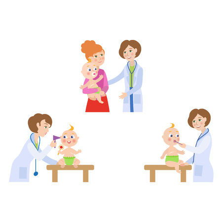 vector flat Woman pediatrician, baby scenes set. Female doctor measuring temperature, checking ears of newborn infant kid, giving baby to his or her mother. Isolated illustration on a white background Ilustracja