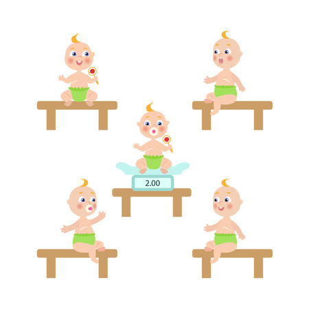 baby toy: vector flat cartoon new born infant babies set. Kids sitting at weighter, at table with nipple in diaper holding rattle with different emotions. Isolated illustration on a white background