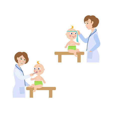 vector flat Woman pediatrician and baby scenes set. Female doctor with stethoscope measuring the size of newborn infant kid head, measuring temperature. Isolated illustration on a white background.
