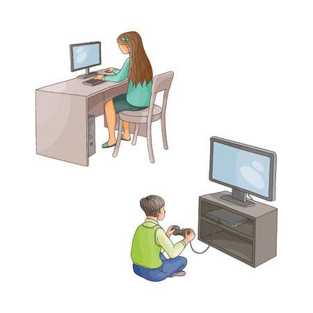 vector flat cartoon teen girl sits at chair behind desktop using pc, looking at monitor typing at keyboard, boy playing in video game using joystick. Isolated illustration on a white background.