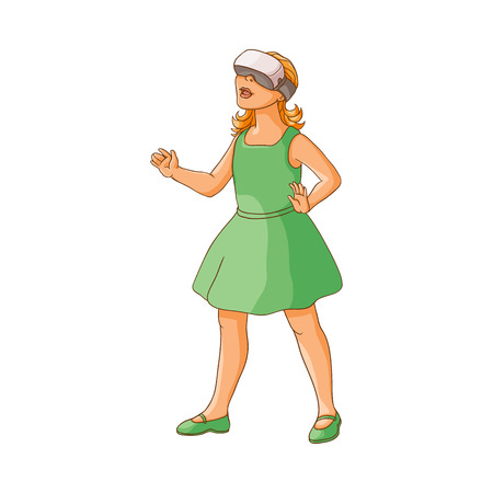 vector flat teen girl in green dress using virtual or augmented reality simulating glasses. Isolated illustration on a white background. Teenagers and modern digital visual technology concept