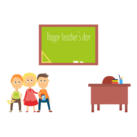 Happy teacher day greeting card with school children, kids standing at blackboard, flat cartoon vector illustration isolated on white background. School children, kids, teacher table and blackboard