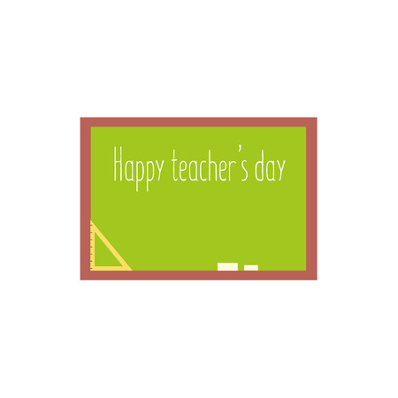 Happy teacher day greeting card template with green school board, flat cartoon vector illustration isolated on white background. School board, blackboard with Happy Teacher Day greeting text Illustration