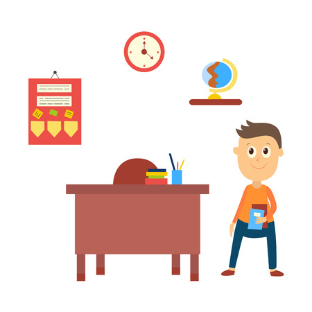 Classroom objects – teacher table, clock, globe, announcement board and schoolboy, flat style vector illustration isolated on white background. School boy waiting in classroom at empty teacher table 向量圖像