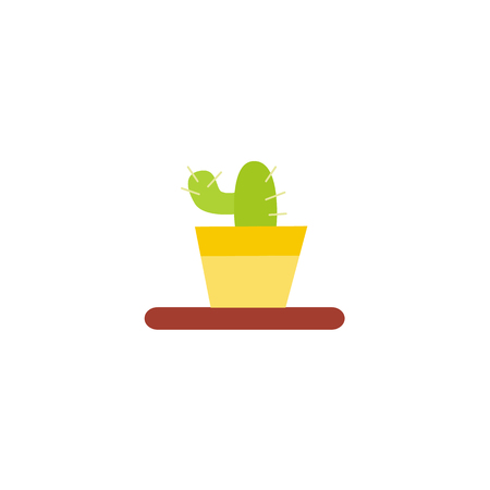 plant stand: Flat style cactus in the pot, home interior, decoration object, vector illustration isolated on white background. Flat style cactus icon, houseplant in pot Illustration