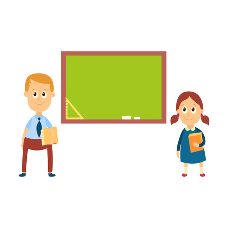 School girl and boy answering a lesson standing at blackboard in classroom, cartoon vector illustration isolated on white background. Girl, boy answering at lesson, back to school, learning concept Illustration