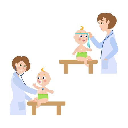 vector flat Woman pediatrician and baby scenes set. Female doctor with stethoscope measuring the size of newborn infant kid head, examining lungs. Isolated illustration on a white background.