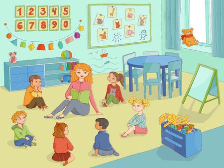 vector platte kinderen - jongens en meisjes zitten rond jonge vrouw met boek - leraar en aandachtig luisteren naar haar in de klas. Geïsoleerde illustratie op een witte achtergrond. Kleuterschool concept