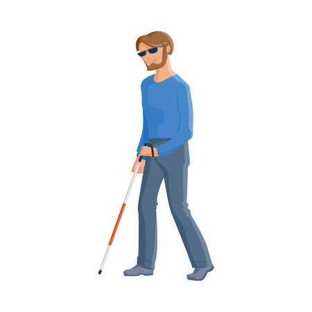 Young blind Caucasian man in dark glasses with a walking cane, flat cartoon vector illustration isolated on white background. Flat cartoon blind man walking with a stick, blindness disability concept Illustration