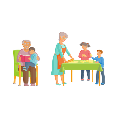 vector flat cartoon grandparents and children set. Grandmother reads book with grandson sitting in chair, and girl and boy helping roll out dought. Isolated illustration on a white background.