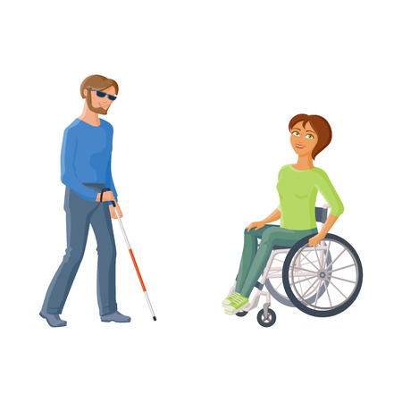 Woman sitting in wheelchair and blind man with walking cane, flat cartoon vector illustration isolated on white background. People with disabilities, handicaps - woman in wheelchair, blind man Illustration