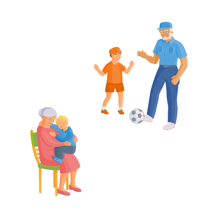 vector flat grandparents and children set. Grandfather in jeans and grandson playing football, grandmother sitting with small boy at her knees at chair. Isolated illustration on a white background.