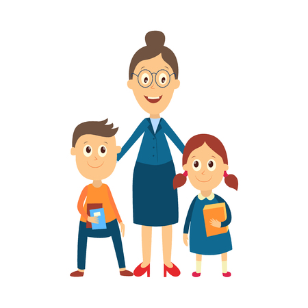 vector flat cartoon adult woman teacher in glasses hugging boy and girl kids pupils holding books, notebooks. Isolated illustration on a white background.