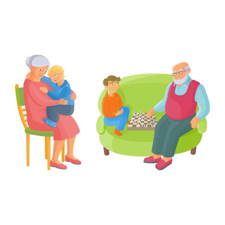vector platte grootouders en kinderen instellen. Grootvader en kleinzoon schaken op fauteuil. grootmoeder met kleine jongen op haar knieën zittend op stoel. Geïsoleerde illustratie op een witte achtergrond. Stock Illustratie
