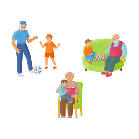 Grandparent, grandfather spending time with grandson - playing chess, football, reading, flat cartoon vector illustration isolated on white background. Grandfather and grandson, happy family concept