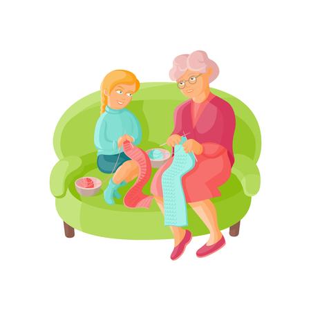 Grootmoeder die haar kleindochter onderwijzen om te breien, vlakke beeldverhaal vectorillustratie die op witte achtergrond wordt geïsoleerd. Oude dame, grootouder, grootmoeder breien sjaals met kleindochter