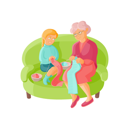 Grandmother teaching her granddaughter to knit, flat cartoon vector illustration isolated on white background. Old lady, grandparent, grandmother knitting scarves with granddaughter Illustration